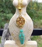 Turquoise Golden Goddess Pentacle Necklace, Goddess Pentagram Jewelry