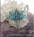 SOLDOUT - Dragonfly Charm with Teal Patina