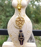 Dark Amethyst Golden Goddess Pentacle Necklace, Goddess Pentagram Jewelry