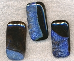 Agate Beads, Black and Blue Agate Focal Pendant, 40x20mm