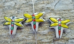 Porcelain Dragonfly Beads, Hand-Painted 16x8mm Dragonfly Charm Beads, 1pc