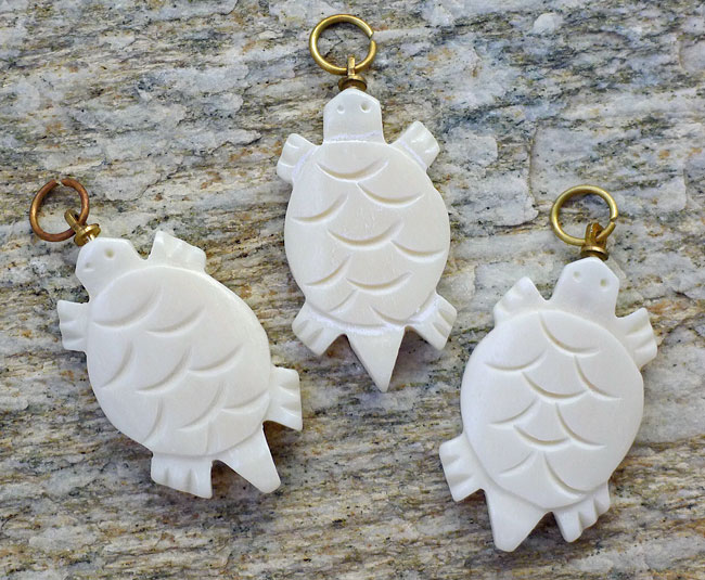 Carved Bone Turtle Pendant Silver Enchantments