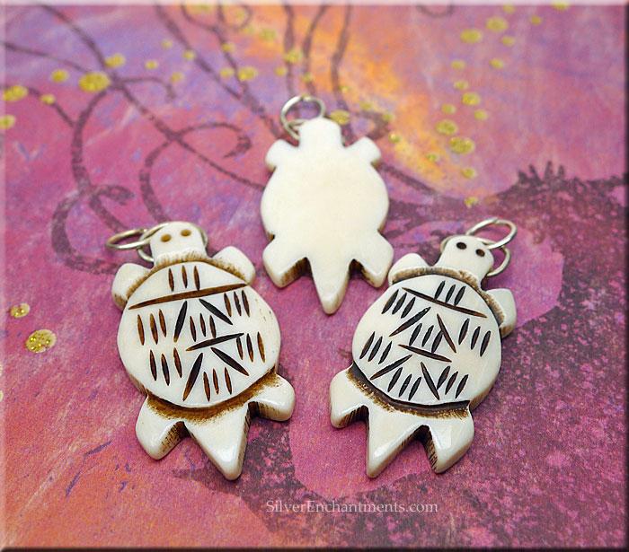 Carved Bone Turtle Pendant 40x20mm Bone Totem Jewelry Silver Enchantments