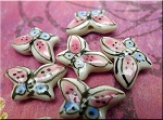 Porcelain Butterfly Charms-Beads, Pink-Blue