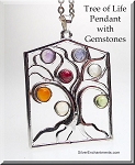 Silver Tree of Life Pendant with Chakra Gemstones