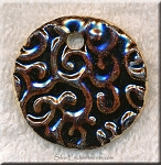 SOLD - Glazed Ceramic Focal Pendant, Black-Brown Disc with Vine-Swirl Pattern