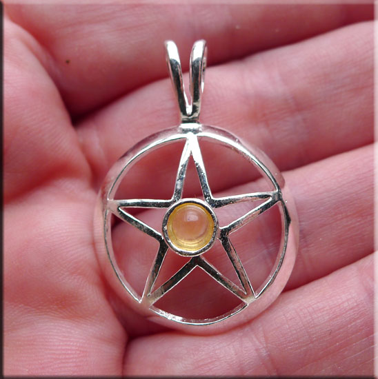 Silver Pentacle with Citrine