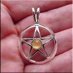 Silver Pentacle with Citrine, Citrine Pentagram Necklace