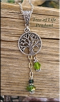 Yggdrasil Tree of Life Pendant with Green Crystals