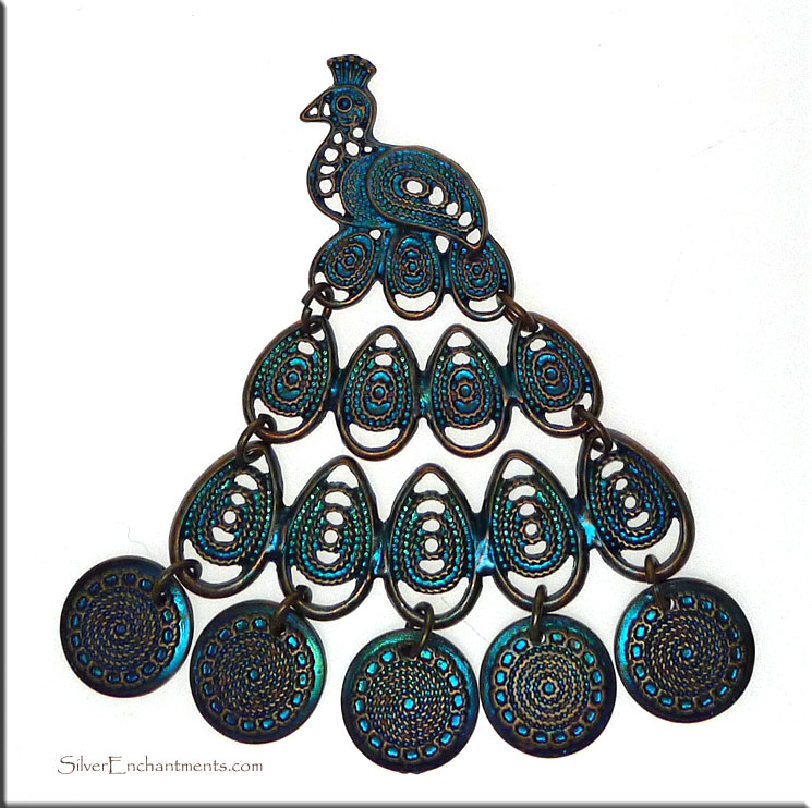 Huge Peacock Pendant with Bronze-Metallic Blue Teal Patina, Movable Pendant
