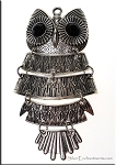 Huge Ornate Owl Pendant with Black Crystal Eyes, Moveable Pendant