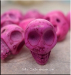 Skull Bead Charms, Pink 3D Side-drilled
