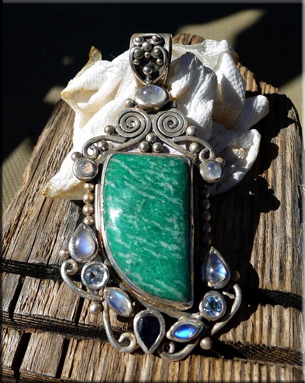 Sterling Silver Russian Amazonite Rainbow Moonstone Blue Topaz Iolite Pendant Ooak