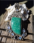 ZSOLD - Sterling Silver Russian Amazonite, Rainbow Moonstone, Blue Topaz, Iolite Pendant, OOAK