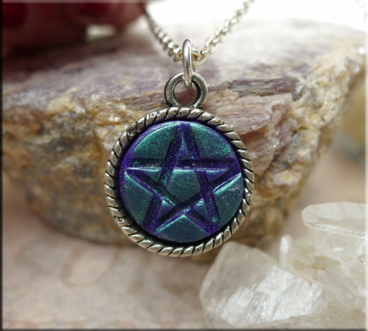 Purple Pentacle Pendant With Green Teal Shimmer Pagan