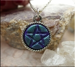 Purple Pentacle Pendant with Green Teal Shimmer - Pagan Jewelry