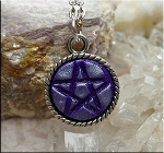 Purple Pentacle Pendant with Moondust Shimmer - Pagan Jewelry