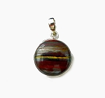 SOLD - Sterling Silver Tiger Iron Pendant, Mugglestone Necklace Tiger Eye, Red Jasper, Hematite