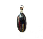 ZSOLD / Sterling Silver Mugglestone Pendant, Tiger Iron Necklace : Tiger Eye, Red Jasper, Hematite, Natural Gemstone