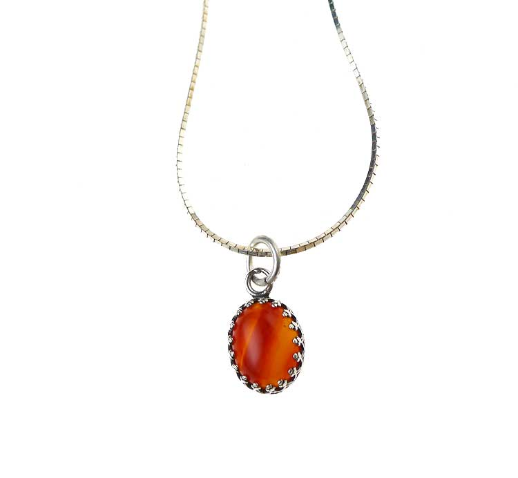 Carnelian charm pendant necklace solid sterling silver carnelian necklace in sterling silver aloadofball Choice Image