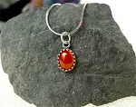 Carnelian Charm-Pendant Necklace, Solid Sterling Silver