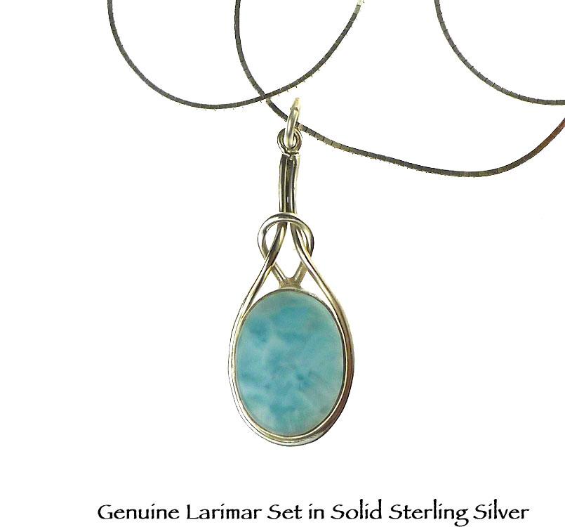 Dominican Larimar Pendant  Larimar Necklace  Celtic Design Pendant