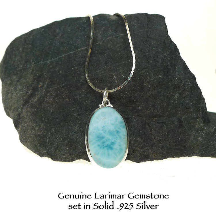 Sterling Silver Larimar Pendant or Necklace, Minimalist Oval