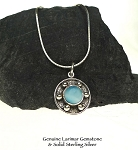 Nautical Larimar Pendant in Solid .925 Sterling Silver