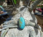 Kingman Turquoise Pendant Necklace, .925 Sterling Silver Arizona Turquoise Jewelry