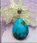 Turquoise Pendant with Large Hole Bail - REMEMBRANCE Teardrop European Style Jewelry