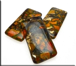 Orange Sea Sediment Jasper Pendants, Jasper and Bronzite Mosaic Gemstone Pendant (1)