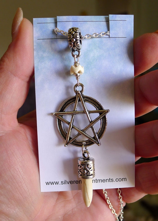 SOLDOUT - Boho Pentacle Necklace with Spike, White