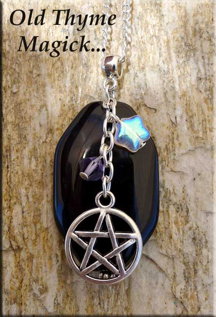 Old Thyme Magick Pentacle Necklace Black Onyx Pagan