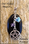 Old Thyme Magick Pentacle Necklace, Black Onyx Pagan Talisman Jewelry