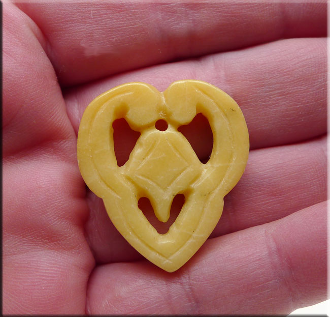 Gemstone Heart Pendant, Abstract Heart Carved Serpentine Jade