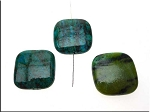 Chrysocolla Pendant Beads, Square 25mm Pillow