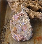 Chalcedony Druzy Necklace, Wire Wrapped Sugared Druzy Chalcedony Rose Pendant, 64x46x9mm