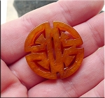 Round Solar Cross Knot Carved Serpentine Jade Pendant