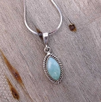 Genuine Larimar Pendant, Sterling Silver Larimar Necklace