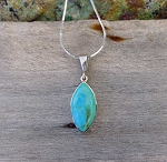 ZSOLD / Kingman Turquoise Pendant in Sterling Silver, .925 Arizona Turquoise Jewelry