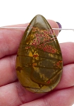 Red Creek Jasper Pendant, Gemstone Teardrop Pendant for Beaders 50x30mm