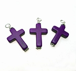 Purple Magnesite Gemstone Cross Necklace Pendant