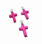 Hot Pink Magnesite Cross Pendant, Gemstone Necklace Pendants - Everyday Spiritual Jewelry