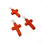 Orange Magnesite Cross Necklace Pendant - Everyday Spiritual Jewelry