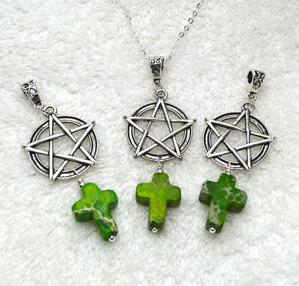 Pentacle with green jasper cross pendant christopagan necklace pentacle with green jasper cross pendant christopagan necklace everyday spiritual jewelry aloadofball Image collections