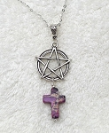 Pentacle with Cross Pendant, Purple Sea Sediment Jasper, Christo-Pagan Necklace Jewelry - Everyday Spiritual Jewelry