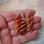 Carnelian Pendant Necklace, Spiral Wrapped Carnelian Wand