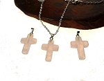 Rose Quartz Cross Pendant, Rose Quartz Gemstone Cross Necklace