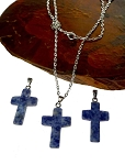 Sodalite Gemstone Cross Necklace