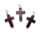 Purple Sea Sediment Jasper Cross Necklace, Gemstone Cross Pendant - Everyday Spiritual Jewelry